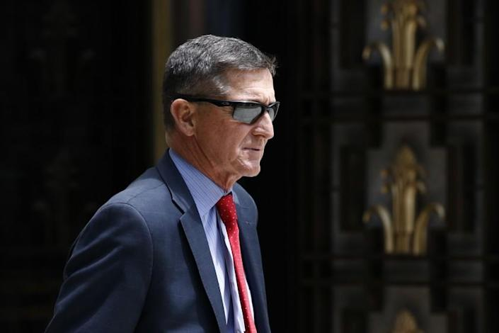 "Trump's former national security advisor Michael Flynn departs a federal courthouse in Washington in 2019. <span class=""copyright"">(Patrick Semansky / Associated Press )</span>"