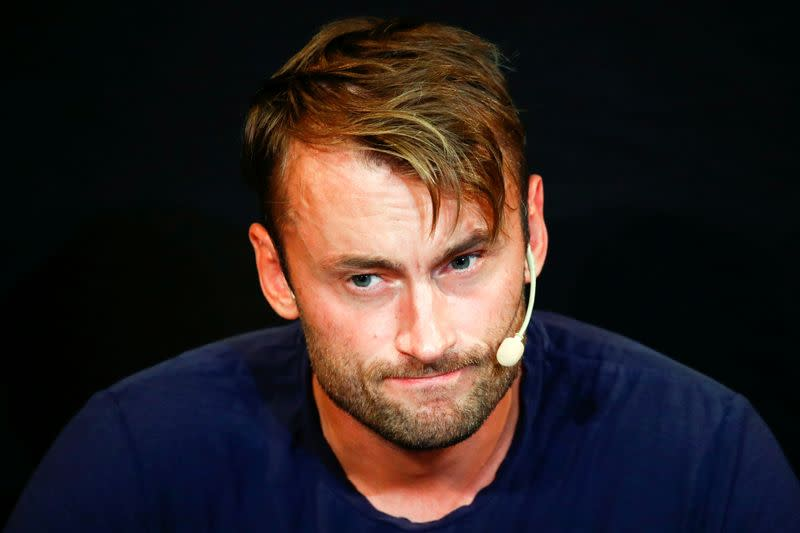 FILE PHOTO: Petter Northug attends a news conference in Trondheim