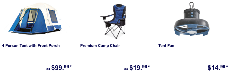 Camping gear on sale as Special Buys at Aldi.