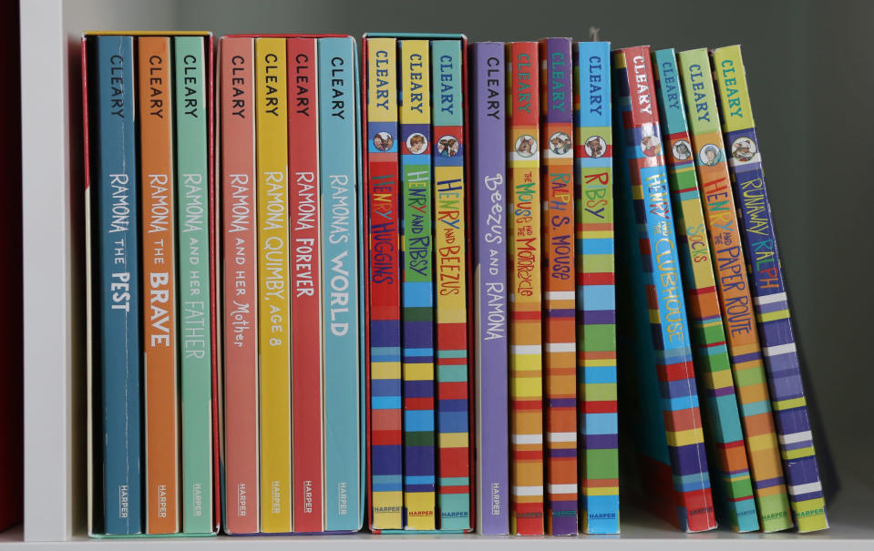 This image shows a collection of books by Beverly Cleary on Friday, March 26, 2021, at a home in Altadena, Calif. The beloved children's author, whose characters Ramona Quimby and Henry Huggins enthralled generations of youngsters, has died. She was 104. Cleary's publisher, HarperCollins, announced her death Friday. In a statement, the company said Cleary died in Carmel, Calif., her home since the 1960s, on Thursday. No cause of death was given. (AP Photo/Anthony McCartney)