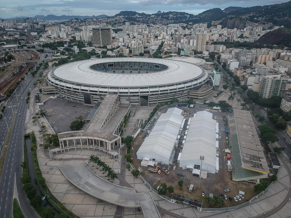 Aerial view of the Maracana stadium and the field hospital  to combat of COVID-19 (coronavirus)  on April 19, 2020 located in the region in the north of Rio De Janeiro, Brazil. On 16, June 2020 the Maracana stadium will be 70 years old. (Photo by Allan Carvalho/NurPhoto via Getty Images)