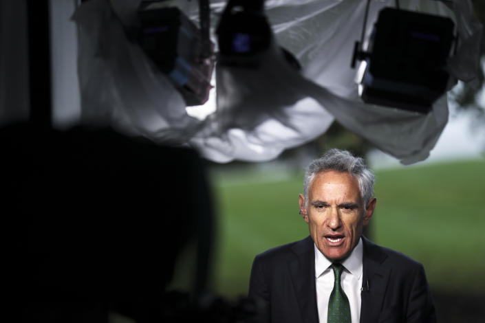 White House coronavirus adviser Dr. Scott Atlas, speaks during a TV interview with OAN on October 12, 2020 in Washington, DC (Oliver Contreras/For The Washington Post via Getty Images)