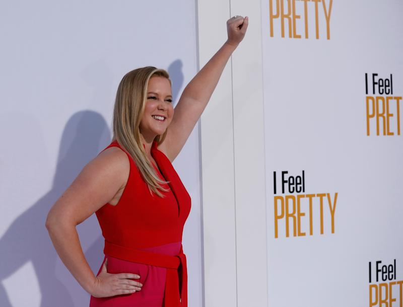 "Cast member Amy Schumer poses at the premiere of ""I Feel Pretty"" in Los Angeles, California, U.S., April 17, 2018. REUTERS/Mario Anzuoni"