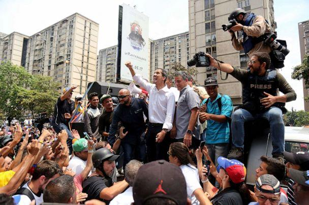 PHOTO: Venezuelan opposition leader Juan Guaido waves to his supporters during a demonstration in Caracas, May 1, 2019. (Edilzon Gamez/Getty Images)