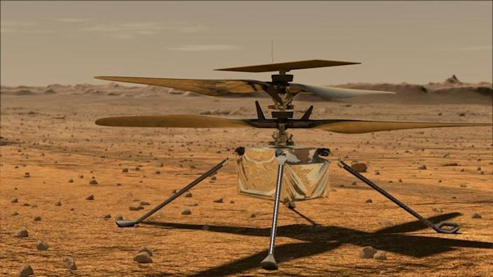An artist's impression of the Ingenuity Mars helicopter. / Credit: NASA/JPL-Caltech
