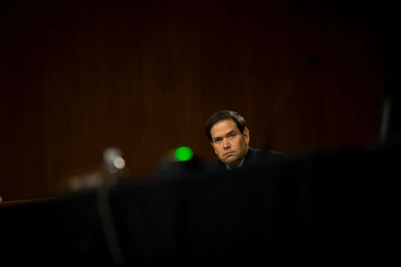 FILE PHOTO: U.S. Sen. Marco Rubio questions Rep. John Ratcliffe during a Senate Intelligence Committee nomination hearing, on Capitol Hill in Washington