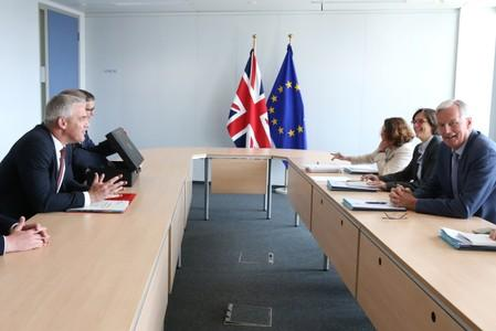 Britain's Secretary of State for Exiting the EU Barclay attends a meeting with EU's chief Brexit negotiator Barnier in Brussels
