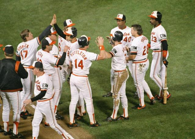 The 1988 Baltimore Orioles celebrate a rare victory. (AP)