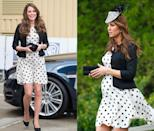 <p>This playful polka dotted (and bump friendly) dress has been worn by the Duchess of Cambridge multiple times, but most notably in April and May 2013, during her first pregnancy. </p>