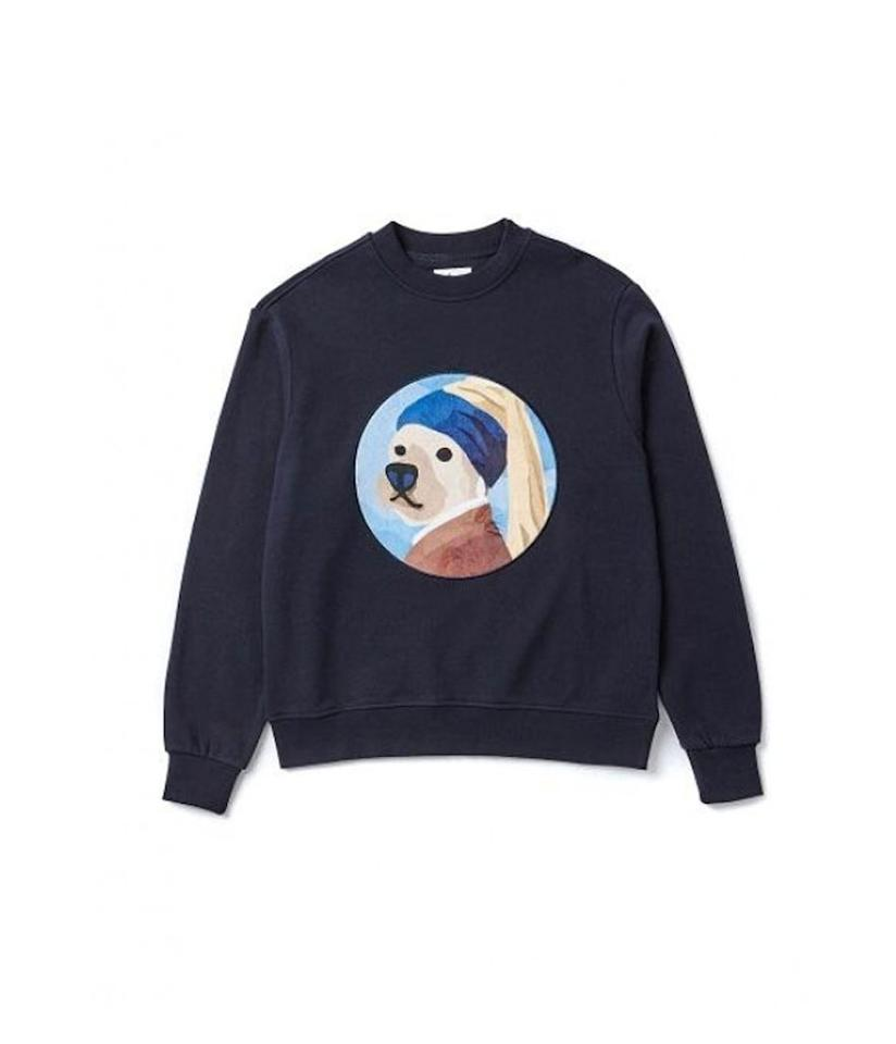 "<p>Pearl Earring Dog Sweat-shirt, $103, <a rel=""nofollow"" href=""http://us.wconcept.com/pearl-earring-dog-patch-sweat-shirts-navy.html"">wconcept.com</a> </p>"