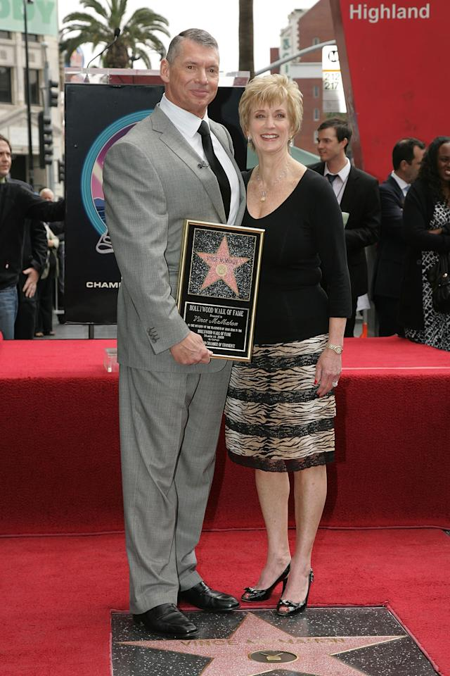 HOLLYWOOD - MARCH 14: WWE Chairman Vince McMahon and his wife Linda McMahon attend a ceremony honoring him with a star on the Hollywood Walk of Fame at Hollywood and Highland on March 14, 2008 in Hollywood, California (Photo by Neilson Barnard/Getty Images)