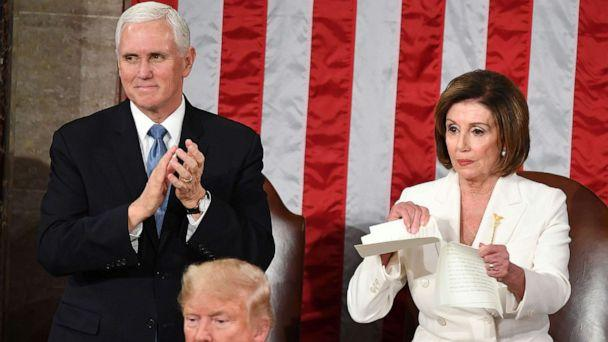 PHOTO: Vice President Mike Pence claps as Speaker of the House of Representatives Nancy Pelosi rips a copy of President Donald Trump's speech after he delivered the State of the Union address at the U.S. Capitol in Washington, D.C., Feb. 4. (Mandel Ngan/AFP via Getty Images, FILE)