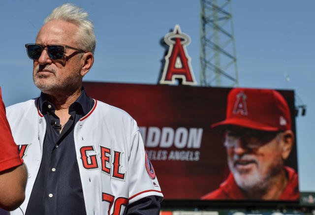 "Joe Maddon, former World Series-winning skipper of the <a class=""link rapid-noclick-resp"" href=""/mlb/teams/chi-cubs/"" data-ylk=""slk:Chicago Cubs"">Chicago Cubs</a>, was introduced as the Angels manager in October. He will be Shohei Ohtani's third manager in three big league seasons. (Photo by Jeff Gritchen/MediaNews Group/Orange County Register via Getty Images)"