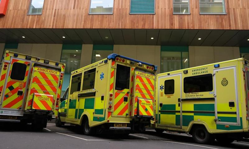 Ambulances in Bristol. Hospitals have been told to postpone non-urgent surgery to cope with the crisis, including at the Bristol, North Somerset and South Gloucestershire trust where they are operating at the highest alert level.