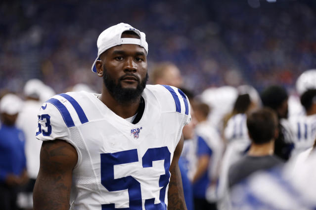 After spending three weeks recovering from a scary concussion, Darius Leonard is thrilled to be back healthy with the Colts for Week 7. (Justin Casterline/Getty Images)