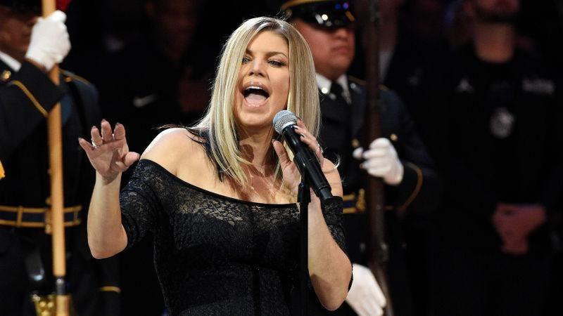 Fergie sang the National Anthem yesterday. AAP