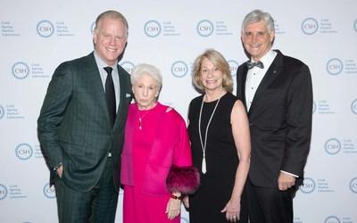 (l to r) Double Helix Medal dinner honorees Boomer Esiason and Dr. Nancy Wexler, CSHL Board of Trustees Chairman Marilyn Simons, and CSHL President and CEO Bruce Stillman. Photo Credit: Michael Ostuni/PMC/PMC