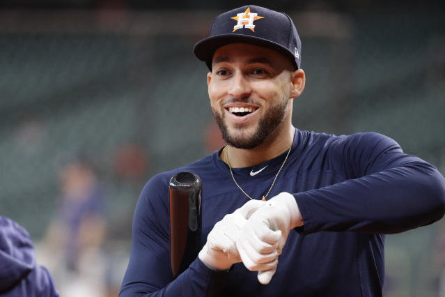Houston Astros right fielder George Springer prepares to take batting practice before Game 6 of baseball's American League Championship Series against the New York Yankees Saturday, Oct. 19, 2019, in Houston. (AP Photo/Eric Gay)