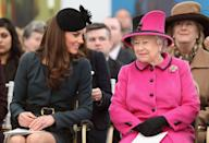 <p>Kate Middleton had her first joint royal appearance with the Queen in 2012. The Duchess accompanied her Majesty and Prince Phillip to Leicester for her Diamond Jubilee tour of the United Kingdom. </p>