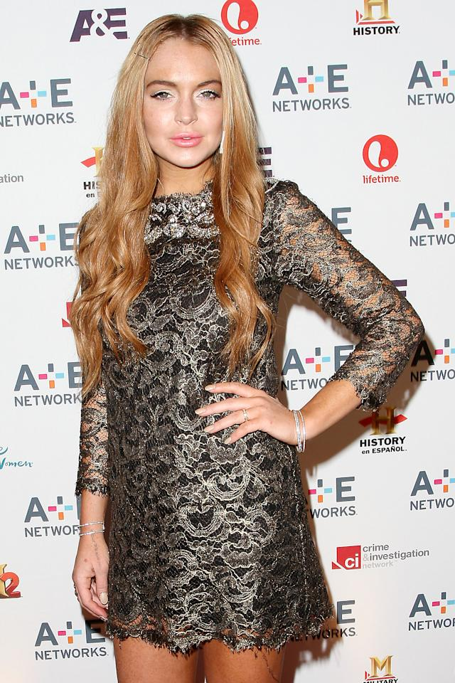 "In this May 9, 2012 photo shows actress Lindsay Lohan at the A&E Networks 2012 Upfront at Lincoln Center in New York. Lohan will star as Elizabeth Taylor in the upcoming Lifetime TV movie ""Liz & Dick."" Police in Santa Monica, Calif., say Lohan was involved in a car accident on Pacific Coast Highway around 11:45 a.m. Friday, June 8, and that an investigation is ongoing. (AP Photo/Starpix, Kristina Bumphrey, file)"