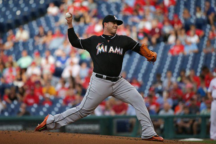 PHILADELPHIA, PA - JULY 18: Starting pitcher Jose Fernandez #16 of the Miami Marlins throws a pitch in the first inning during a game against the Philadelphia Phillies at Citizens Bank Park on July 18, 2016 in Philadelphia, Pennsylvania. (Photo by Hunter Martin/Getty Images)