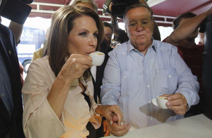 Rep. Michele Bachmann, R-Minn. sips a cup of Cuban coffee during a stop at Versailles Restaurant in Miami, Monday, Aug. 29, 2011. (AP/Lynne Sladky)