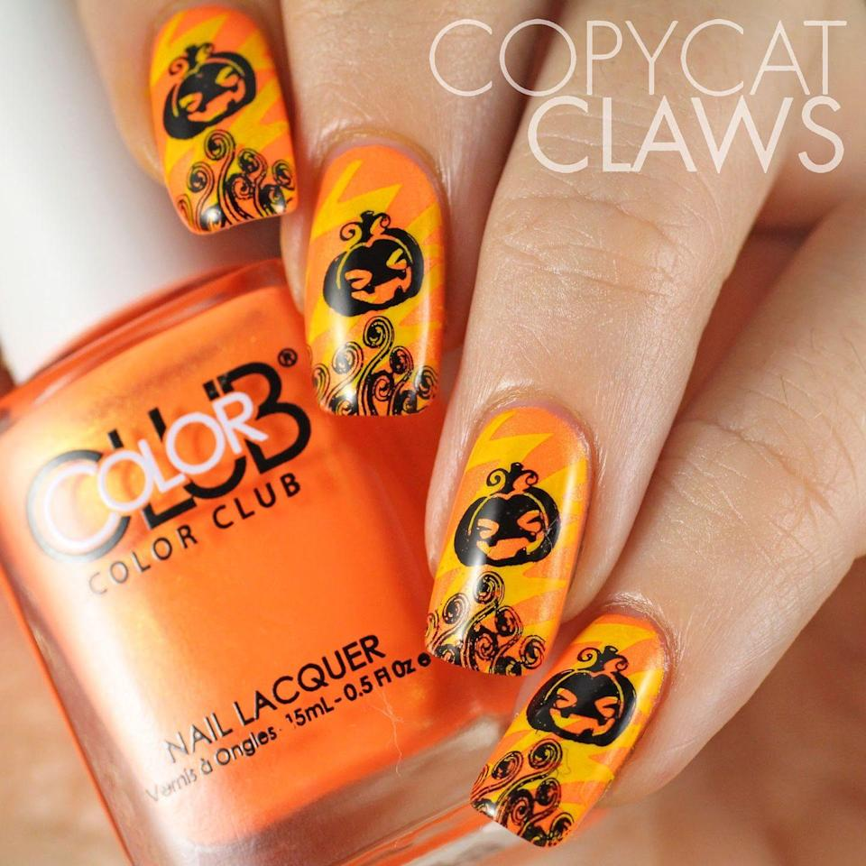 "<p>This manicure takes a steady hand and a few advanced techniques, but the results are totally spectacular.</p><p><a class=""link rapid-noclick-resp"" href=""https://www.amazon.com/Whaline-Halloween-Templates-Stamping-Manicure/dp/B07H6J2T3H/ref=sr_1_1_sspa?crid=1NZKFZBA3BY95&keywords=halloween+nail+stamping+plate&qid=1569609613&sprefix=hallown+nail+stam%2Cgift-cards%2C187&sr=8-1-spons&psc=1&spLa=ZW5jcnlwdGVkUXVhbGlmaWVyPUEzQ0gxVlRDUE5GNTVTJmVuY3J5cHRlZElkPUEwMTYzMzk5M0oxOTFUQk5WUzZZNyZlbmNyeXB0ZWRBZElkPUEwMzc0NDY4MlZZWE5CTUkwOEUwJndpZGdldE5hbWU9c3BfYXRmJmFjdGlvbj1jbGlja1JlZGlyZWN0JmRvTm90TG9nQ2xpY2s9dHJ1ZQ%3D%3D&tag=syn-yahoo-20&ascsubtag=%5Bartid%7C10055.g.1421%5Bsrc%7Cyahoo-us"" rel=""nofollow noopener"" target=""_blank"" data-ylk=""slk:SHOP STAMPING PLATES"">SHOP STAMPING PLATES</a></p><p><em><a href=""http://copycatclaws.blogspot.com/2014/10/halloween-stamping.html"" rel=""nofollow noopener"" target=""_blank"" data-ylk=""slk:Get the tutorial at Copycat Claws »"" class=""link rapid-noclick-resp"">Get the tutorial at Copycat Claws »</a></em><br> </p>"