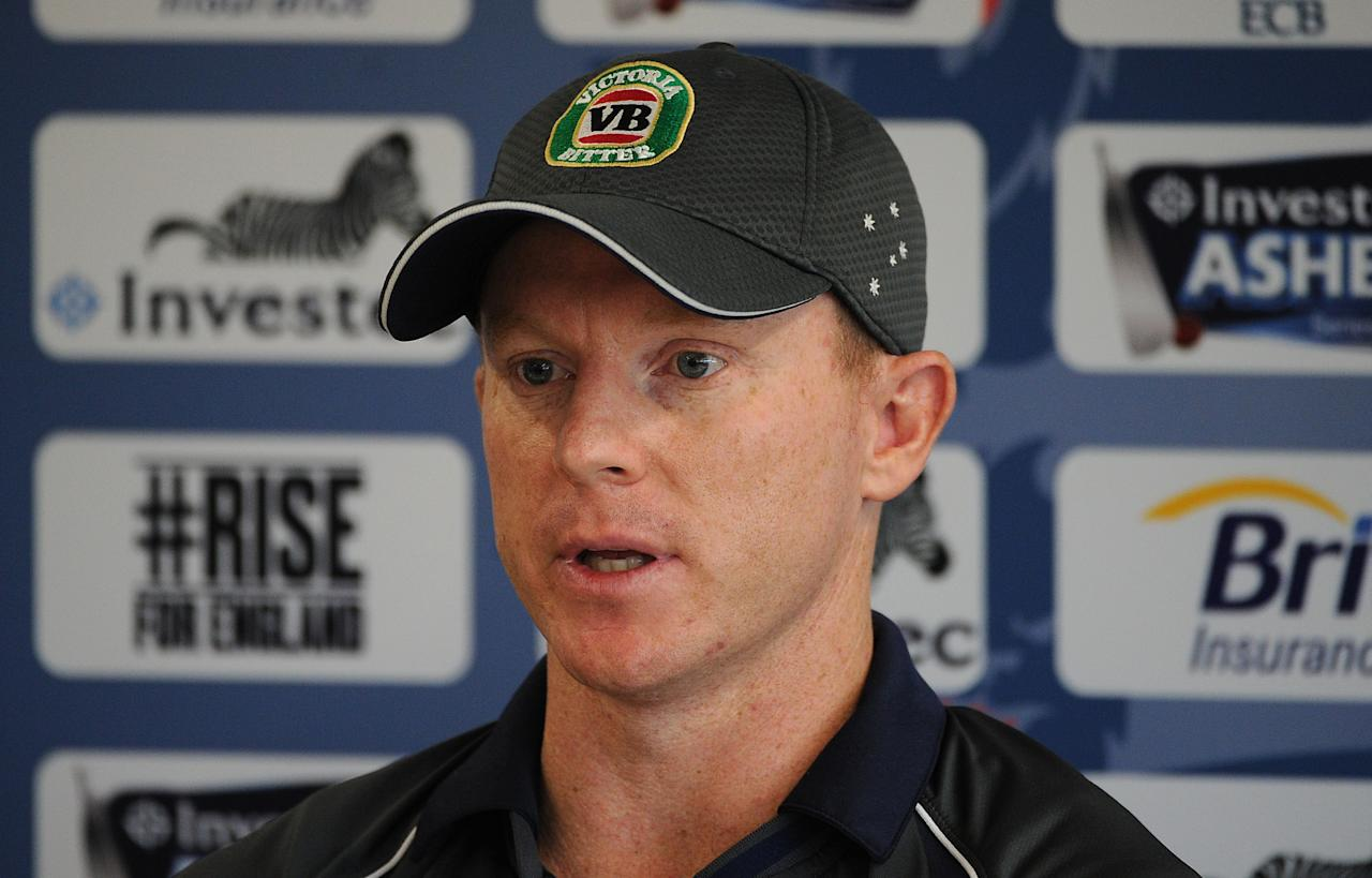 MANCHESTER, ENGLAND - JULY 30: Chris Rogers of Australia speaks to the media following an Australia Nets Session at Old Trafford on July 30, 2013 in Manchester, England. (Photo by Chris Brunskill/Getty Images)