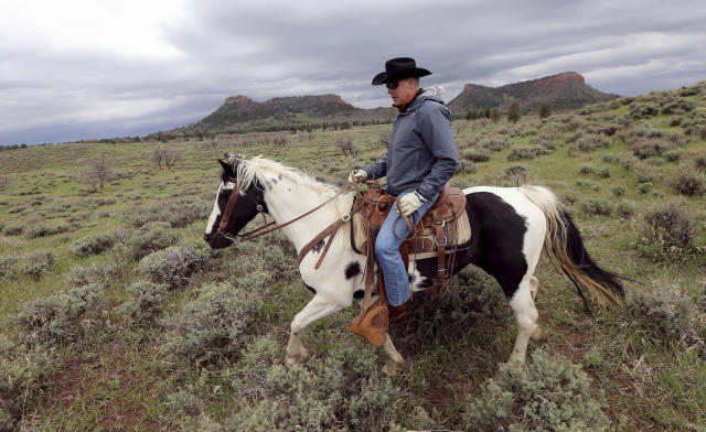 Interior Secretary Ryan Zinke rides a horse in the new Bears Ears National Monument near Blanding, Utah, this past May. (Photo: Scott G Winterton/The Deseret News via AP)
