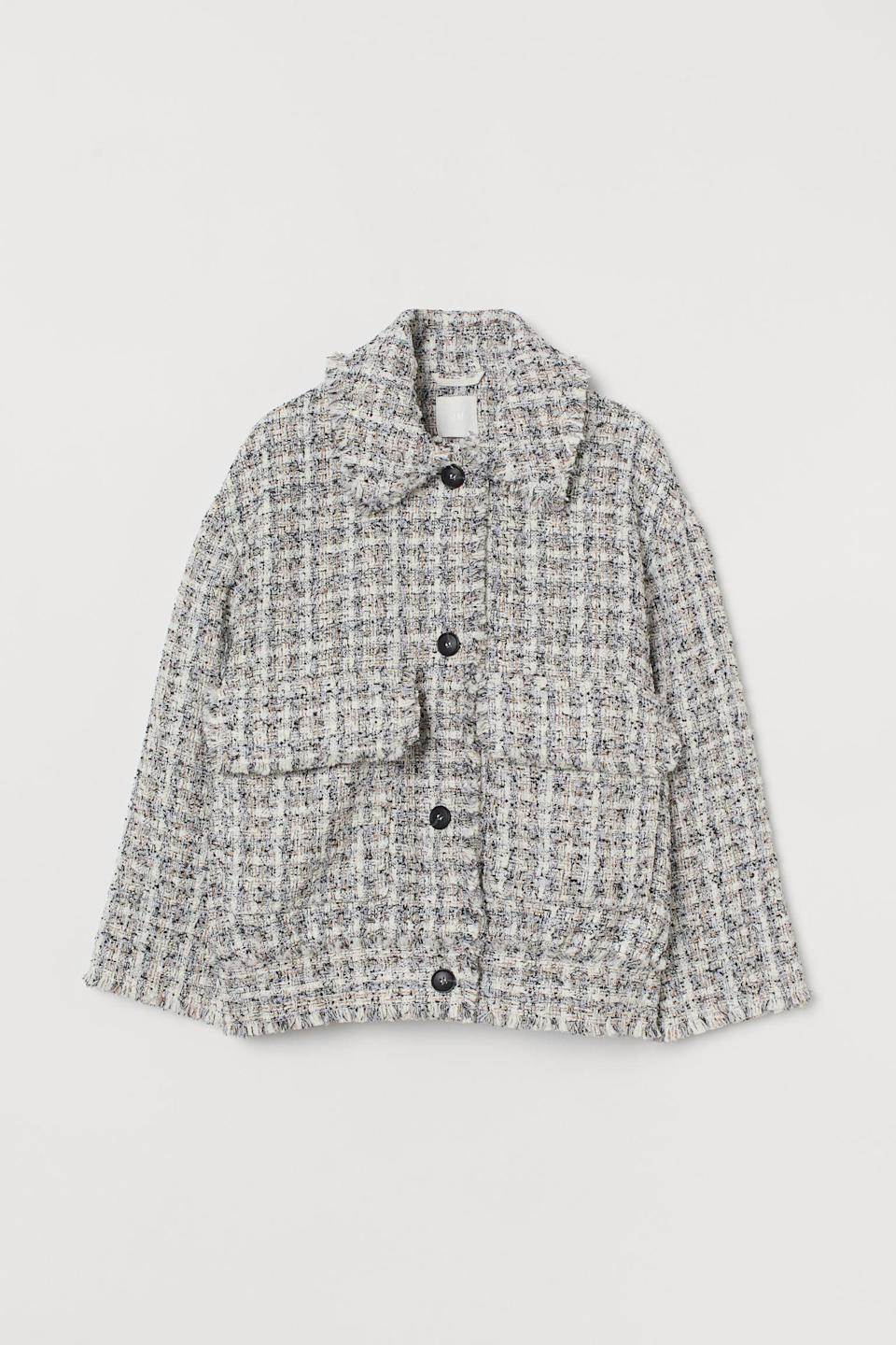 <p>This <span>Textured-weave Jacket</span> ($50) will add a dose of glam to your everyday wardrobe.</p>