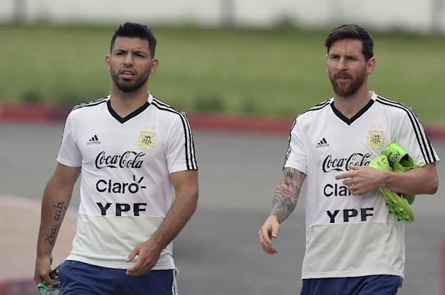 Argentina's Lionel Messi and Sergio Aguero have scored 104 interational goals between them (AFP Photo/JUAN MABROMATA)