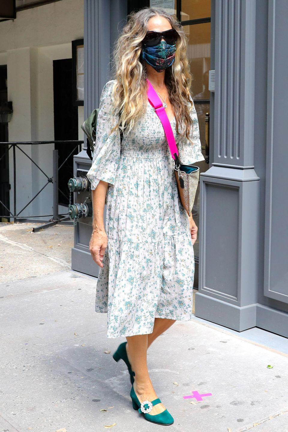 <p><strong>15 July </strong>Sarah Jessica Parker stepped out in a floral dress and jewelled heeled pumps. </p>