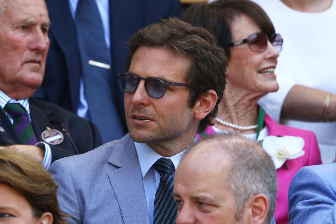 LONDON, ENGLAND - JULY 07: Bradley Cooper attends the Gentlemen's Singles Final match between Andy Murray of Great Britain and Novak Djokovic of Serbia on day thirteen of the Wimbledon Lawn Tennis Championships at the All England Lawn Tennis and Croquet Club on July 7, 2013 in London, England. (Photo by Clive Brunskill/Getty Images)