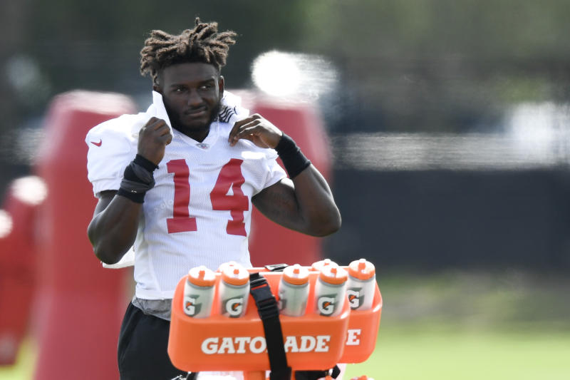 Chris Godwin near the Gatorade bottles at practice.