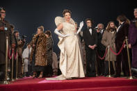 """This image released by Disney shows Emma Thompson in a scene from """"Cruella."""" (Laurie Sparham/Disney via AP)"""