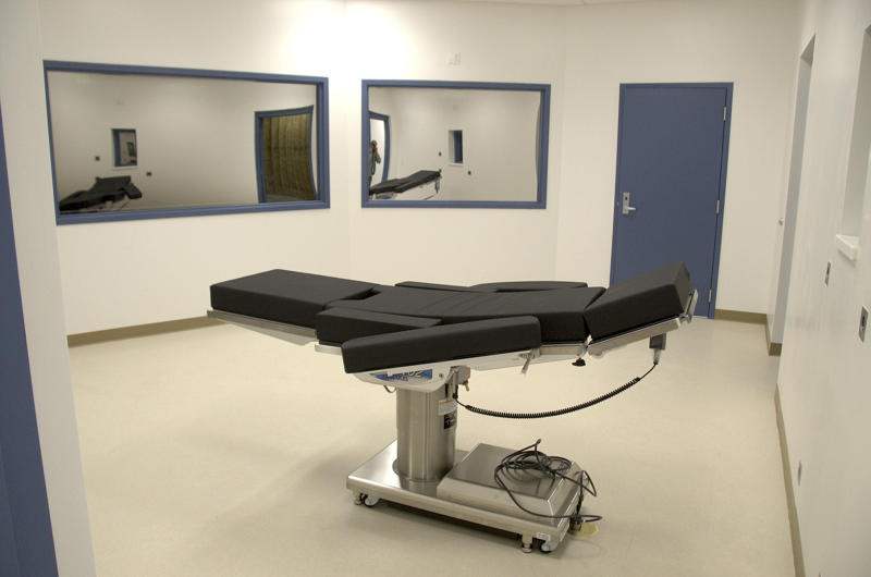 FILE - This Nov. 10, 2016, file photo released by the Nevada Department of Corrections shows the newly completed execution chamber at Ely State Prison in Ely, Nev. Scott Raymond Dozier, who was convicted in 2007 of robbing, killing and dismembering a 22-year-old man in Las Vegas, and was convicted in Arizona in 2005 of another murder and dismemberment near Phoenix, is slated to die at the prison by a three-drug lethal injection combination never before tried in any state. (Nevada Department of Corrections via AP, File)