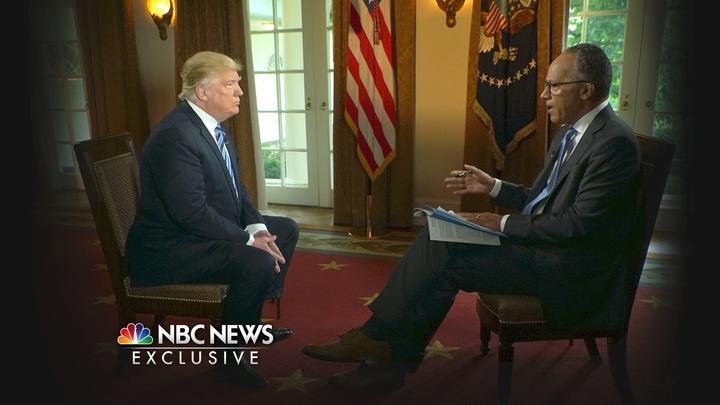 President Trump is interviewed by NBC's Lester Holt on Thursday. (Photo: Joe Gabriel/NBC News via AP)