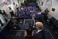President Donald Trump arrives to speak during a briefing with reporters in the James Brady Press Briefing Room of the White House, Tuesday, Aug. 4, 2020, in Washington.(AP Photo/Alex Brandon)