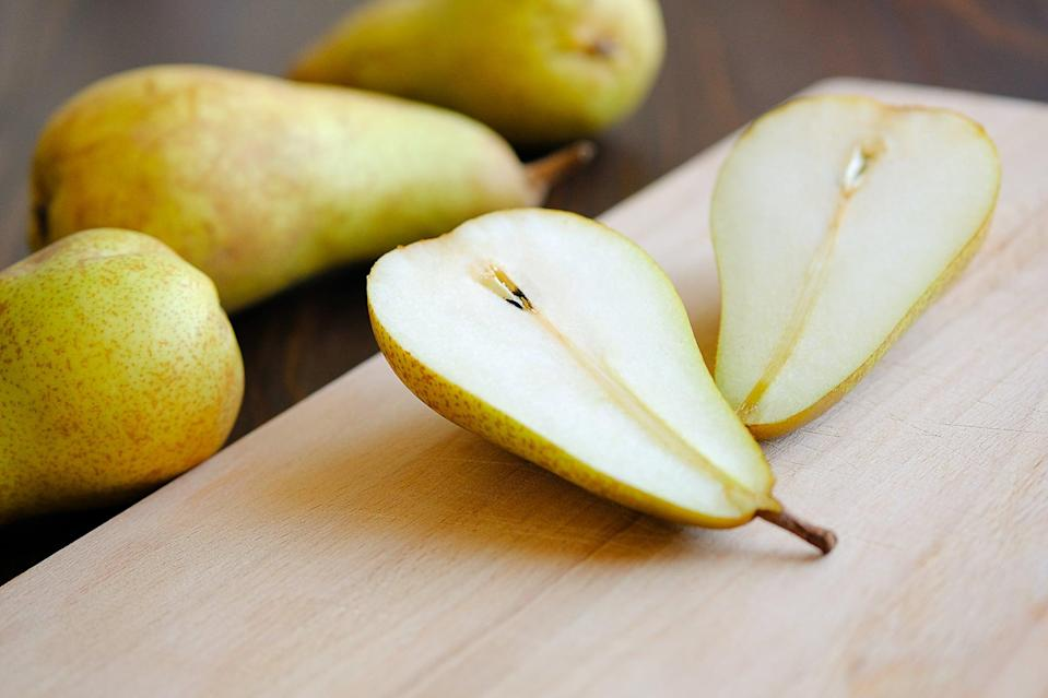 <p>Bathroom woes are common during that time of the month. If you often feel constipated during your period, pears contain natural fiber that can help support regularity. Just make sure to eat the skin!</p>