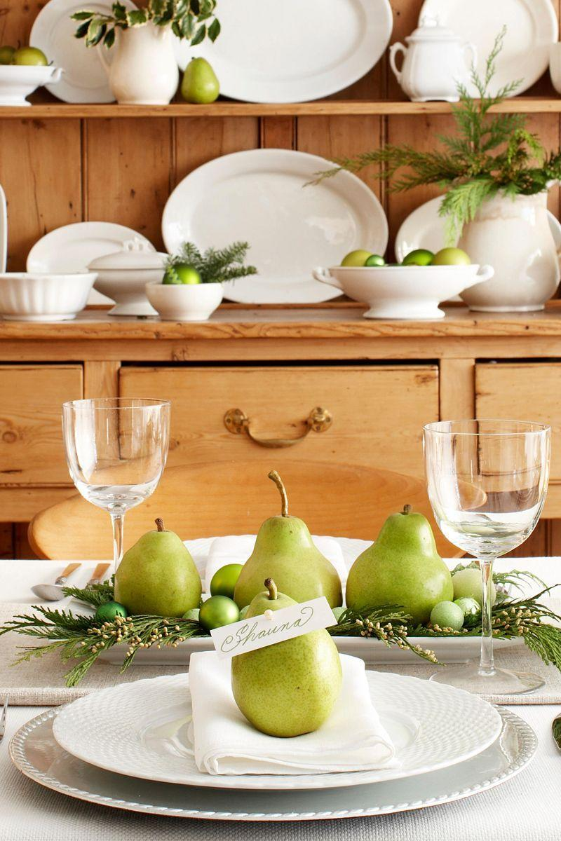 """<p>Thanks to a pearl-topped pin, ripe pears serve as edible name-card holders. Pears also appear, with greenery and tiny ornaments, in a DIY-on-a-dime centerpiece.</p><p><a class=""""link rapid-noclick-resp"""" href=""""https://www.amazon.com/Corsage-Teardrop-Wedding-Straight-Decorations/dp/B07VVJLG6W/ref=sr_1_3?tag=syn-yahoo-20&ascsubtag=%5Bartid%7C10055.g.2196%5Bsrc%7Cyahoo-us"""" rel=""""nofollow noopener"""" target=""""_blank"""" data-ylk=""""slk:SHOP PEARL HEAD PINS"""">SHOP PEARL HEAD PINS</a></p>"""