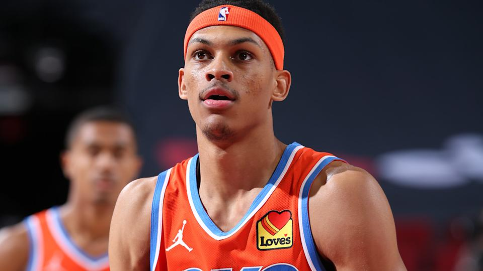 Darius Bazley, pictured here in action for the Oklahoma City Thunder in the NBA.