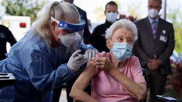 PHOTO: Vera Leip, 88, receives a Pfizer-BioNtech COVID-19 vaccine from Christine Philips, RN Florida Department of Health in Broward County, at the John Knox Village Continuing Care Retirement Community, Dec. 16, 2020, in Pompano Beach, Fla. (Joe Raedle/Getty Images)