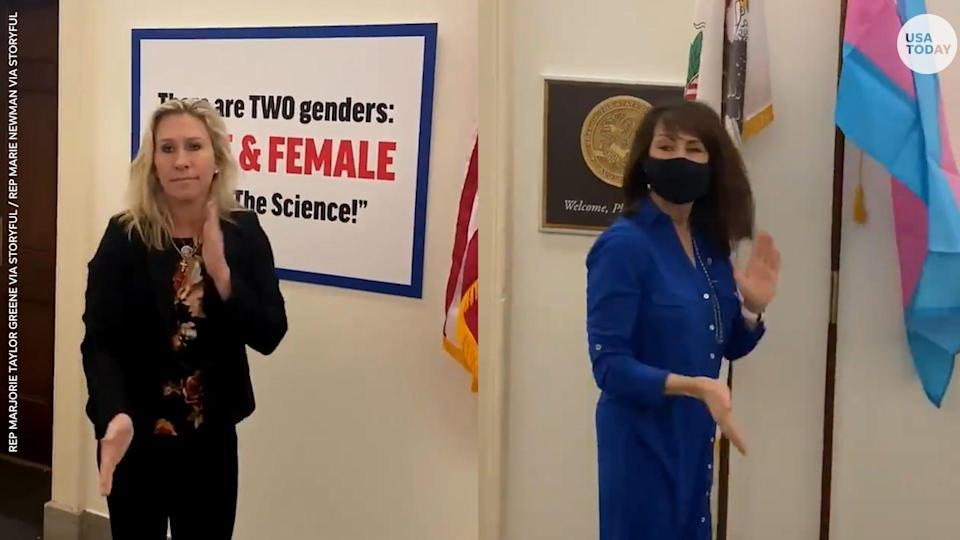 U.S. Rep. Marjorie Taylor Greene is under fire following a Twitter feud with Democratic Rep. Marie Newman over LGBTQ rights.