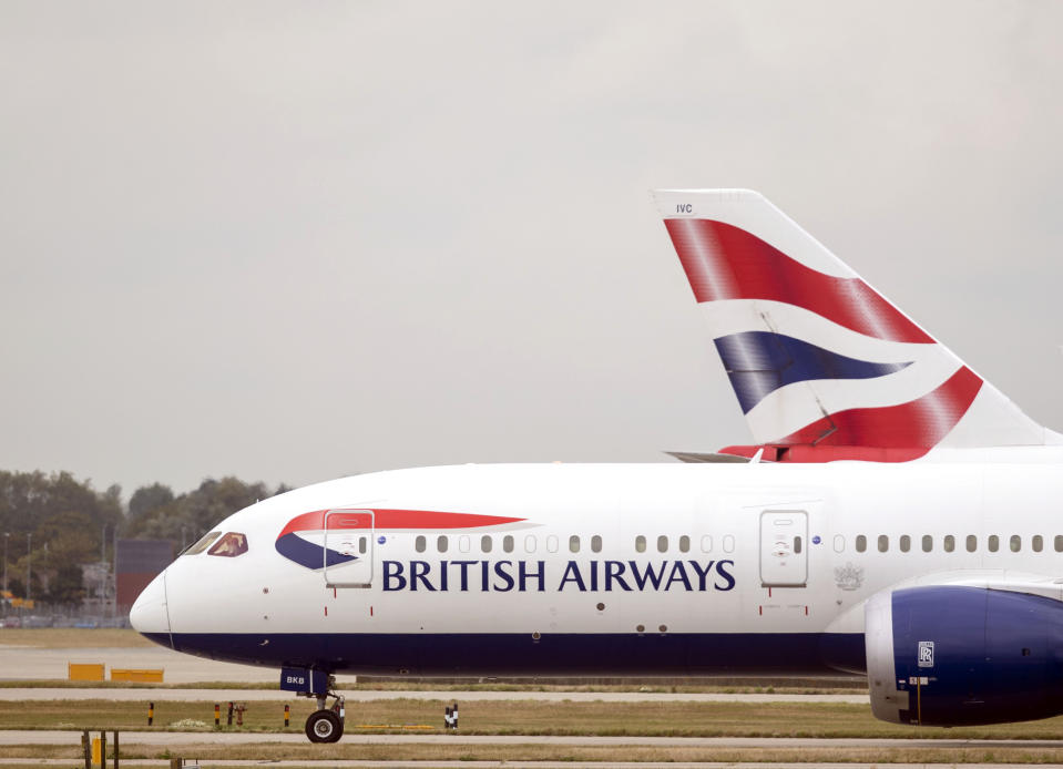 British Airways planes at Terminal Five at Heathrow Airport, London, on day one of the first-ever strike by British Airways pilots. The 48 hour walk out, in a long-running dispute over pay, will cripple flights from Monday, causing travel disruption for tens of thousands of passengers.