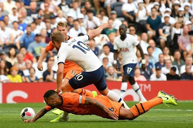 Clear and obvious? Harry Kane was denied a penalty against Newcastle despite a VAR review (AFP Photo/Daniel LEAL-OLIVAS)