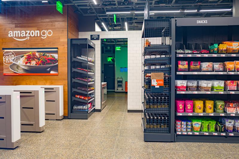 Empty interior with logo at Amazon Go concept store, a physical retail store operated by Amazon in which shoppers are able to take items from shelves and exit without a checkout process, having their items automatically charged to their Amazon Prime account, San Francisco, California; the store uses advanced machine vision and artificial intelligence technologies to automatically record purchases, December 25, 2018. (Photo by Smith Collection/Gado/Getty Images)