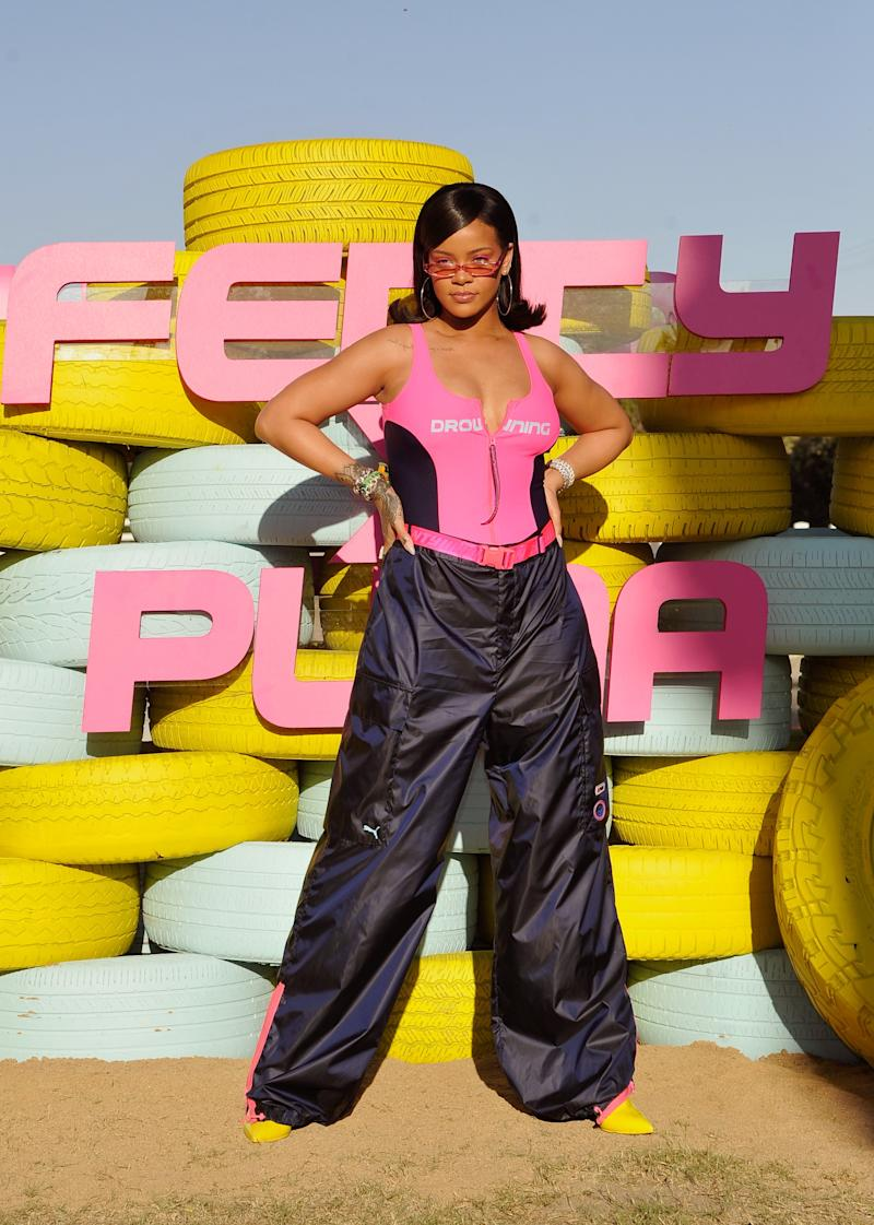 Rihanna attends the FentyXPUMA Drippin event launching the Summer '18 collection at Coachella on April 14, 2018 in Thermal, California. (Photo by John Sciulli/Getty Images for PUMA)