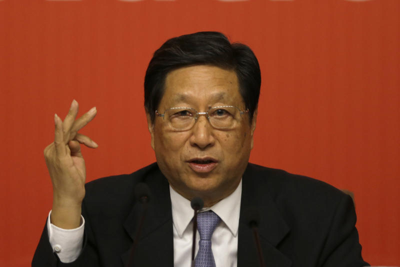Chairman and Secretary of the CPC Party Committee of the National Development and Reform Commission Zhang Ping speaks at a press conference held as part of the 18th Communist Party Congress in Beijing, China, Saturday, Nov. 10, 2012. (AP Photo/Ng Han Guan)