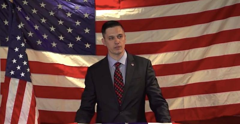 Augustus Invictus is seen in 2015, announcing his earlier run for Senate.