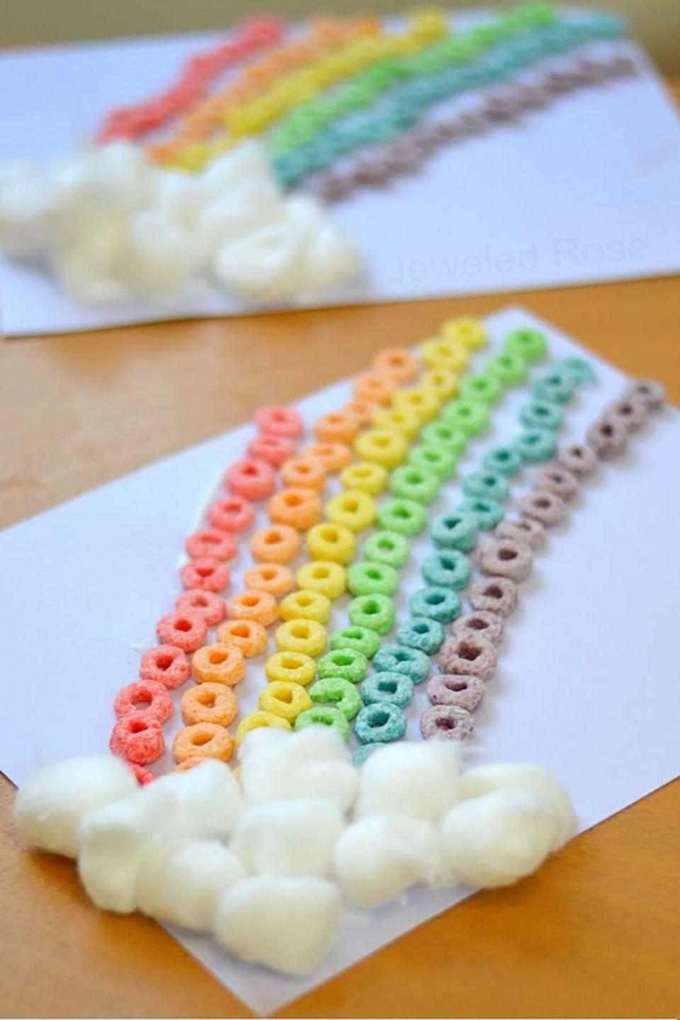 """<p>This colorful craft is fairly straightforward and will keep the little ones occupied all afternoon.</p><p><strong>Get the tutorial from <a href=""""http://jennyirvine.com/easy-st-patricks-day-crafts-for-kids-with-supply-list/"""" rel=""""nofollow noopener"""" target=""""_blank"""" data-ylk=""""slk:Jenny Irvine"""" class=""""link rapid-noclick-resp"""">Jenny Irvine</a>. </strong></p>"""